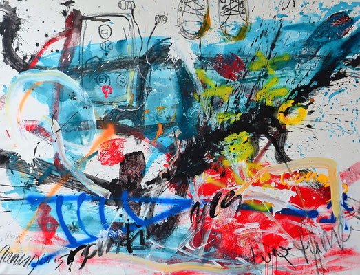 WALKING FREELY, 115x150, acrylic, charcoal on canvas, VIENNA 2015, Photo Reinhold Ponesch ©