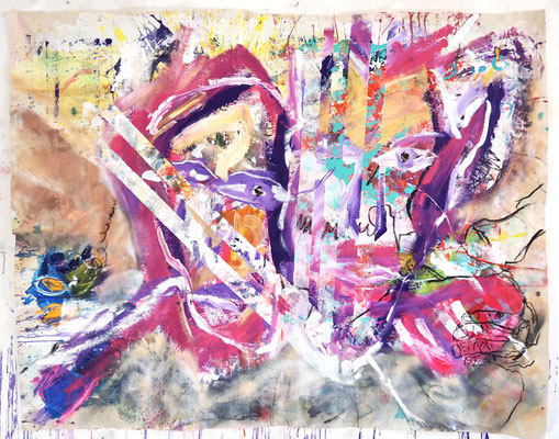LET´S STICK TOGETHER, 115x150 cm, acrylic, oil on canvas, Vienna, 2020, Photo Reinhold Ponesch ©