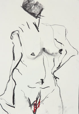 NUDE DRAWINGS 2020 Series 1_1, 30x21 cm, charcoal on paper, VIENNA 2020, photo: Reinhold Ponesch ©