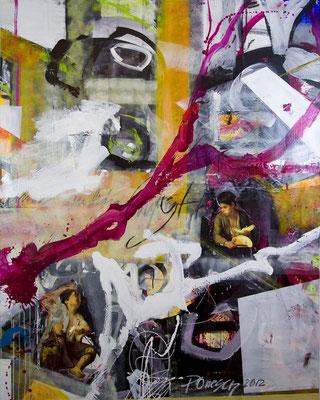 MIDNIGHT, 190x130 cm, acrylic, paper on canvas, Vienna, 2012