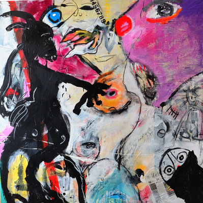 ZÄHMUNG, 150x150 cm, acrylic, charcoal on canvas, Vienna 2012, Photo Reinhold Ponesch ©