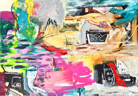EVA 60 DEGREES, 140x190 cm, acrylic, oil, paper on canvas, Vienna, 2019, Photo Reinhold Ponesch ©