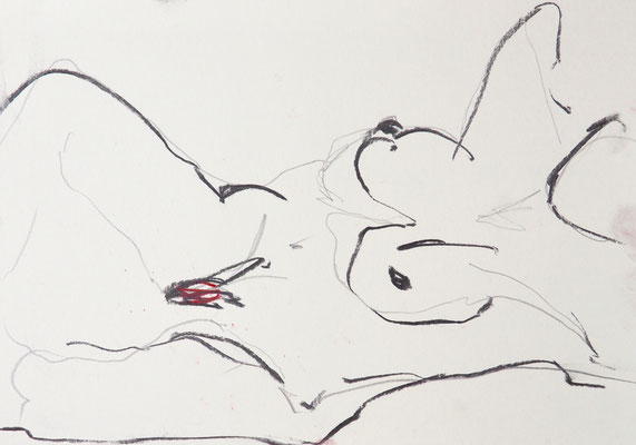 NUDE DRAWINGS 2020 Series 1_2, 30x21 cm, charcoal on paper, VIENNA 2020, photo: Reinhold Ponesch ©