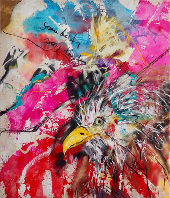 SOMBODY SAYS THAT, 140x120 cm, acrylic, oil, charcoal on canvas, Vienna, 2018, Photo Reinhold Ponesch ©