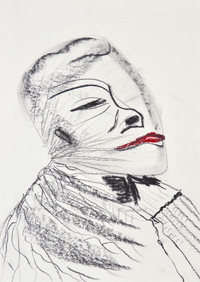 PORTRAITS 2020 Series 1_2, 30x21 cm, charcoal on paper, VIENNA 2020, photo: Reinhold Ponesch ©