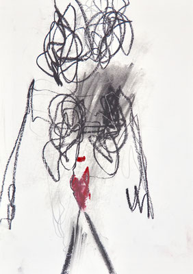 ABSTRACT DRAWINGS 2020 Series 1_6, 30x21 cm, charcoal on paper, VIENNA 2020, photo: Reinhold Ponesch ©