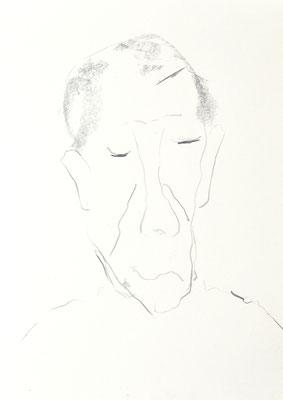 PORTRAITS 2020 Series 1_7, 30x21 cm, charcoal on paper, VIENNA 2020, photo: Reinhold Ponesch ©