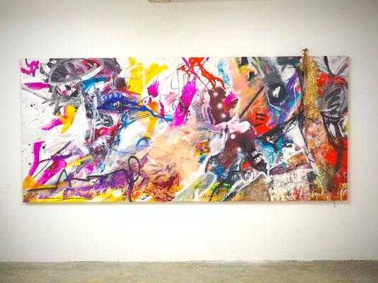 WITCHES´KITCHEN, 150x333 cm, acrylic on canvas, LEIPZIG, 2018, Photo Reinhold Ponesch ©
