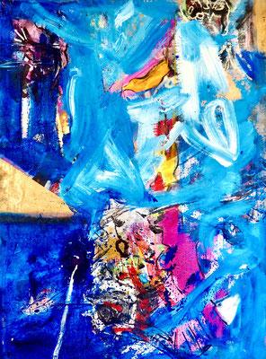 BLUE AZTEC, 190x140 cm, acrylic, oil on canvas, VIENNA, 2020, Photo Reinhold Ponesch ©