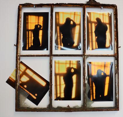 STAY WITHIN YOUR FRAME, 88x88 cm, rusty frame, photos, LEIPZIG 2018, photo: Reinhold Ponesch ©