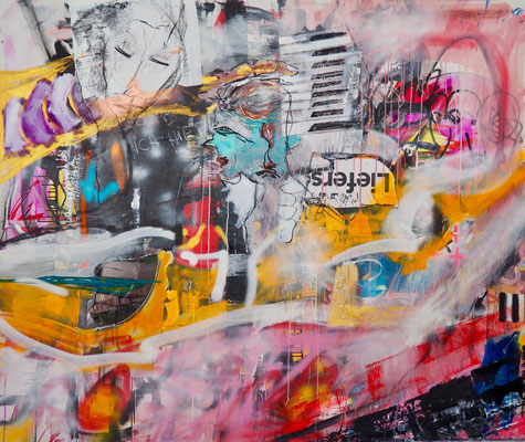 PLAYING PIANO, 155x200 cm, acrylic, charcoal on canvas, VIENNA, 2018, photo: Reinhold Ponesch ©