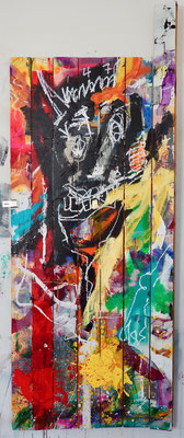 LET HIM IN TO CUDDLE, 207x80 cm, acrylic, oil crayon, oil on wood door, Vienna, 2019, Photo Reinhold Ponesch ©
