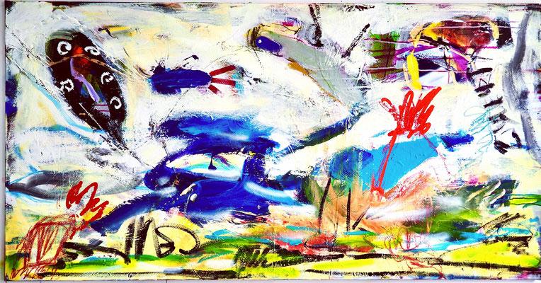 SILENT NATURE, 90x175 cm, acrylic, oil on canvas, Vienna, 2021, photo: Reinhold Ponesch ©