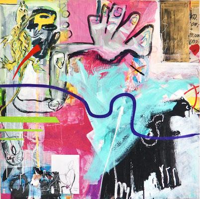 I´M WORTH IT, 150x150 cm, acrylic, spay paint on canvas, Vienna, 2021, Photo Reinhold Ponesch ©
