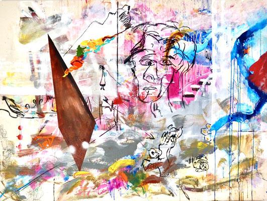 ANCIENT HERO, 150x200, acrylic, oil on canvas, 2021, Photo Reinhold Ponesch ©