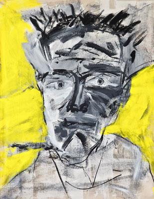 KAHUNA, 104x80 cm, acrylic, charcoal on canvas, Vienna, 2019, Photo Reinhold Ponesch ©