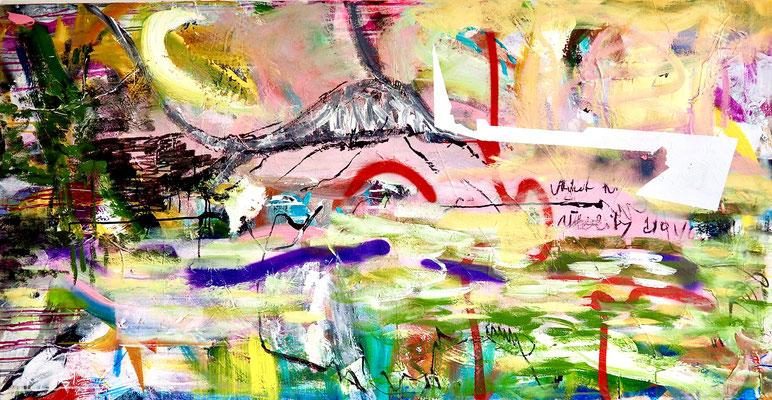 WALK ABOUT, 90x175 cm, acrylic, spray paint on canvas, Vienna, 2020, photo: Reinhold Ponesch ©