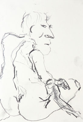 NUDE DRAWINGS 2020 Series 1_5, 30x21 cm, charcoal on paper, VIENNA 2020, photo: Reinhold Ponesch ©