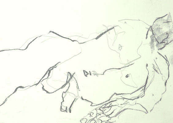 NUDE DRAWINGS 2020 Series 1_3, 30x21 cm, charcoal on paper, VIENNA 2020, photo: Reinhold Ponesch ©