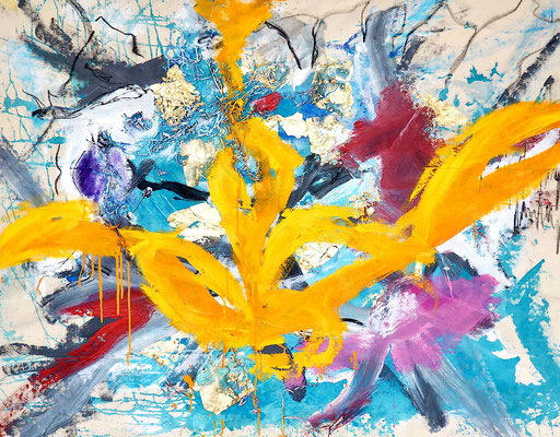 WARMLY SOUL, 110x140 cm, acrylic, goldpaper on canvas, VIENNA 2020, Photo Reinhold Ponesch ©
