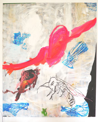 SPREAD YOUR WINGS, 170x140 cm, acrylic, oil, pastell, charcoal on canvas, Vienna, 2020, Photo Reinhold Ponesch ©