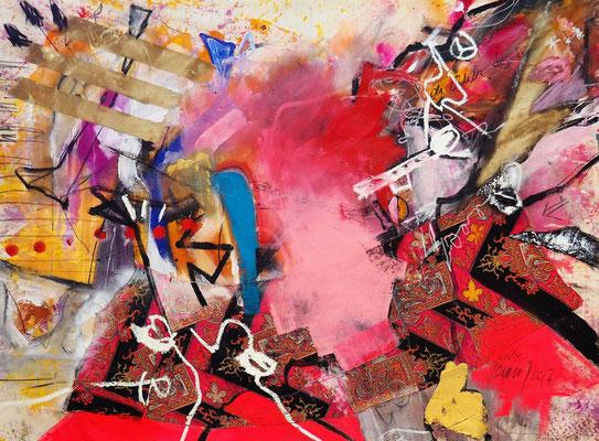 OH FORTUNA, 130x170 cm, acrylic, oil crayon, charcoal, fabric on canvas, NEW YORK 2017, Photo Reinhold Ponesch ©
