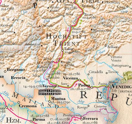 Norditalien mit Goethes Reiseroute als historische Karte