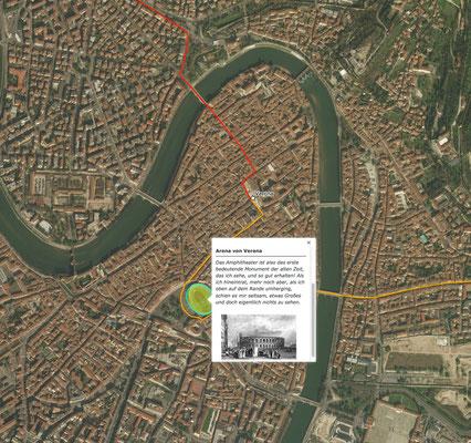 Verona mit Goethes Reiseroute als Luftbild