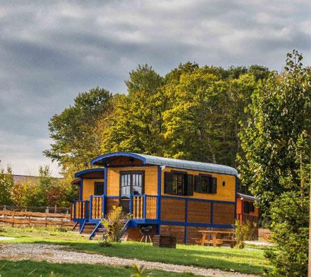 Séjour équestre pour adultes et familles, hébergement tout confort dans une roulotte