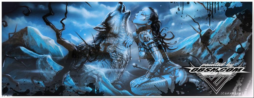 Wolf & Amazone Teilbereich auf Harley Davidson