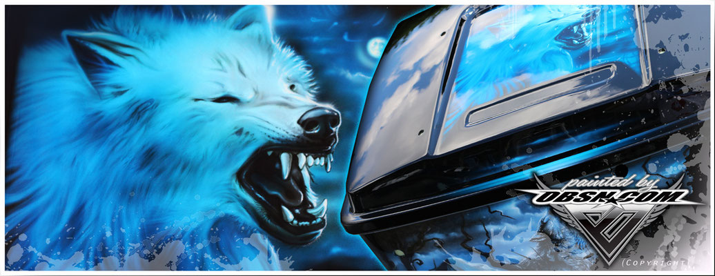 Weißer Wolf Freihand Airbrush