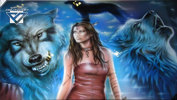 Wölfe und ihre Herrin / Squaw