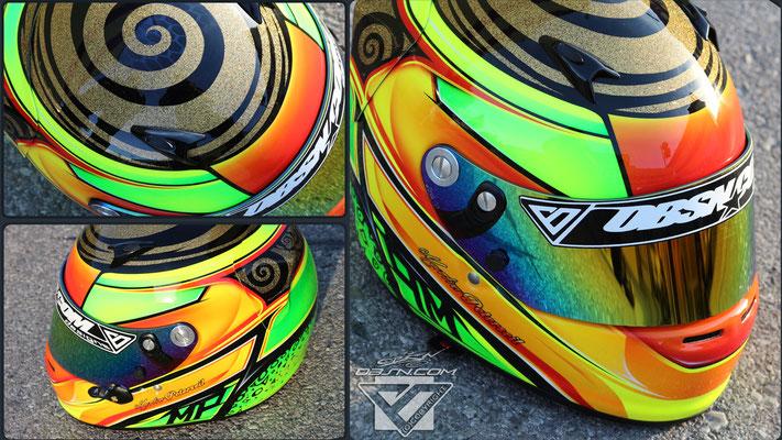 Metalflakes Spirale, Neonfarben auf Arai SK Kart Helm