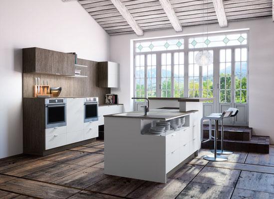 Moderne Küche trifft rustikalen Raum