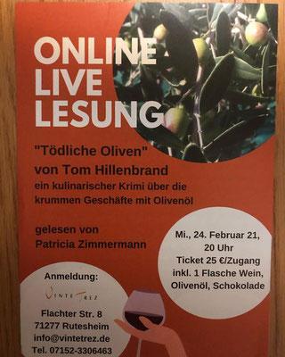 """unsere 2. Online-Live-Lesung """"Tödliche Oliven"""" von Tom Hillenbrand"""