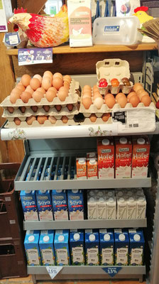 Bioland Eier (Förderung von Zweinutzungshühnern) </br> Haltbare Milch von Kühen, Soja, Mandel, Hafer, ..