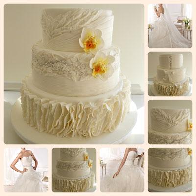 Collage de tarta fondant Dulce Dorotea para Bodas con motivo de traje de bodas.