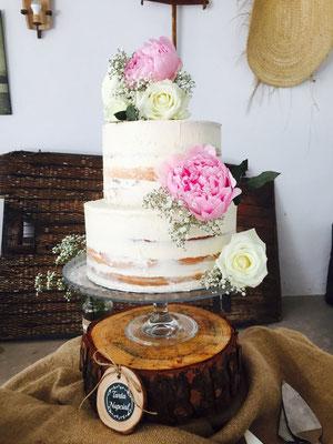 Detalla de Naked Cake de Mesa dulce Alquería (estilo rústico o clásico) | Dulce Dorotea