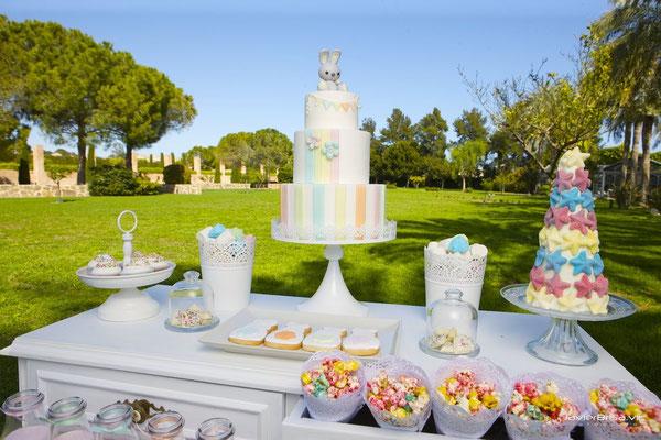 Detalle mesa dulce para bautizo baby bunny | Dulce Dorotea