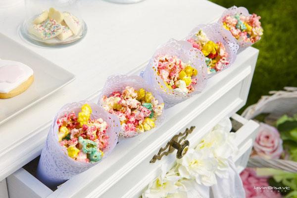 Detalle palomitas de mesa dulce para bautizo baby bunny | Dulce Dorotea