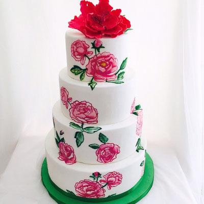 Tarta de boda con flore pintadas a mano de Dulce Dorotea.