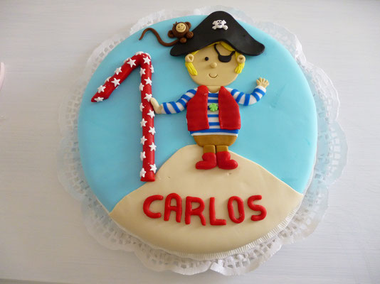 Tarta cumpleaños de niño pirata de Dulce Dorotea