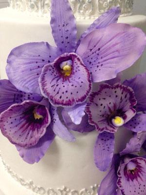 Orquídeas de azúcar para tarta de boda de Dulce Dorotea