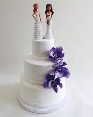 Tarta gay de Dulce Dorotea con orquídeas.