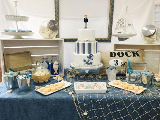 Foto general de la mesa dulce marinera de Dulce Dorotea