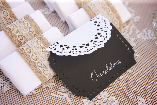 Detalles de la mesa dulce de boda de Dulce Dorotea