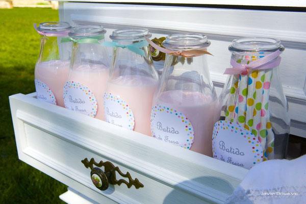 Detalle batidos de mesa dulce para bautizo baby bunny | Dulce Dorotea