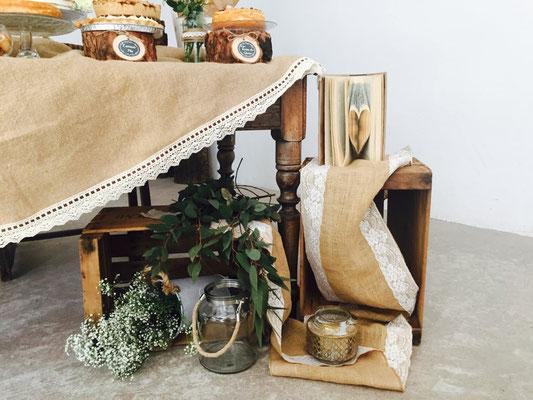 Detalles de decoración mesa dulce Alquería (estilo rústico o clásico) | Dulce Dorotea