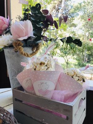 Detalle palomitas en basket, mesa dulce decorada Pink Hipo  | Dulce Dorotea