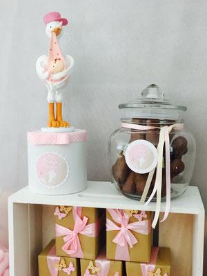Detalle de la mesa dulce para bautizo o baby shower de Dulce Dorotea